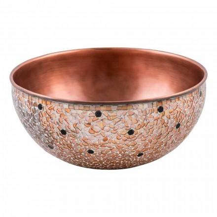 Round handmade countertop washbasin in copper, Murello, unique piece