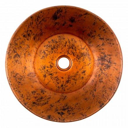 Round handmade countertop washbasin in copper, Palosco, unique piece