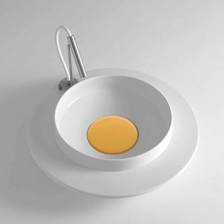 White Ceramic Round Countertop Washbasin with Colored Cover - Voltino