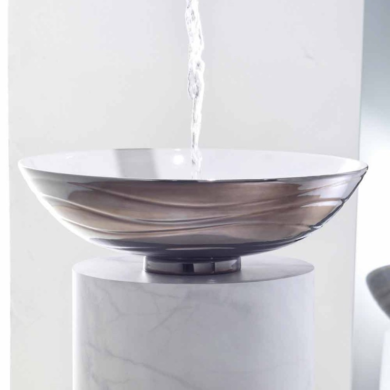 Zaccaria, a round countertop porcelain stoneware washbasin made in Italy