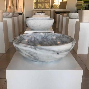 Round Countertop Washbasin in White Carrara Marble Made in Italy - Canova
