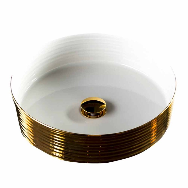 Round counter top washbasin in porcelain and gold made in Italy, Ernesto