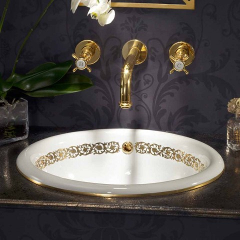 Flush-mounted bathroom sink in fire clay and gold made in Italy, Otis