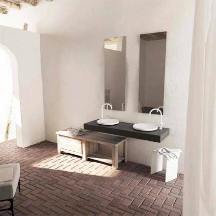 Modern design round countertop washbasin Crema, made in Italy