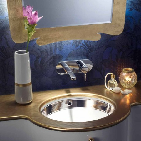 Baroque built-in fire clay washbasin hand made in Italy, Aegean