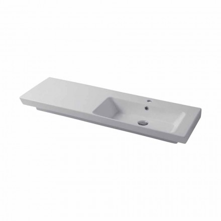 Modern sink wall-mounted and right wall insert in ceramic Maida