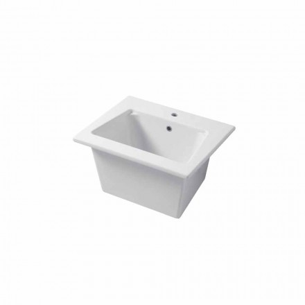 Modern sink wall-mounted and  wall insert in colored ceramic Vinovo