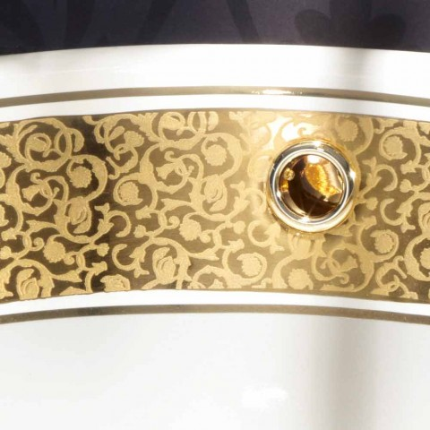 Round built-in sink in fire clay and gold made in Italy, Otis