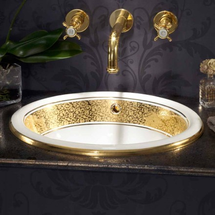 Circular built-in sink in fire clay and 24k gold made in Italy, Otis