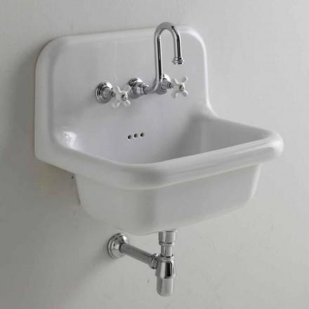 Davis vintage rectangular white wall ceramic washbasin