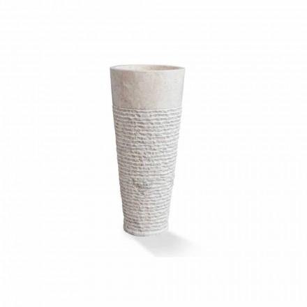 Modern Column Free Standing Washbasin in White Marble - Merlo