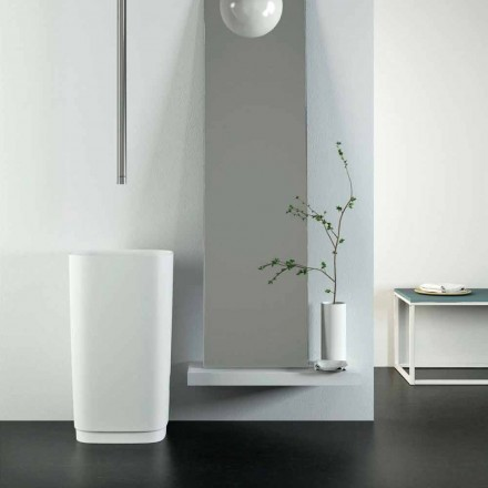 Design freestanding circular floor washbasin made in Italy, Lallio