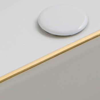 Design ceramic countertop washbasin with gold border made in Italy Debora