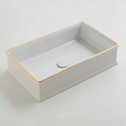 Ceramic countertop basin Debora with gold edge, made in Italy