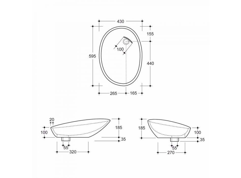 Pedestal ceramic washbasin made in Italy Glossy