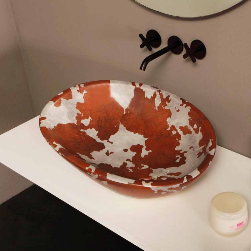 Pedestal ceramic washbasin made in Italy Glossy
