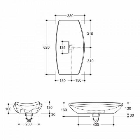 Design ceramic countertop washbasin made in Italy Laura