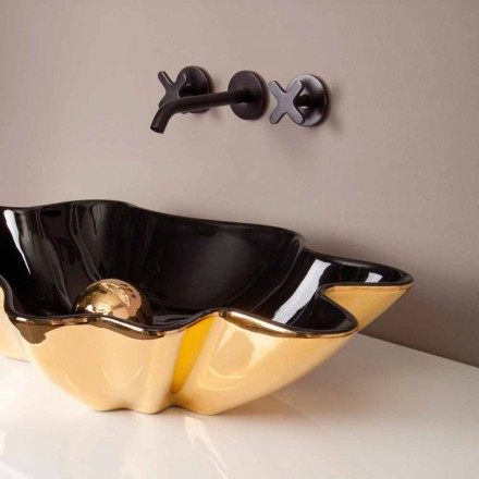 Black and gold ceramic countertop basin Rayan, Italian design