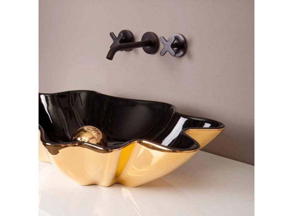 Designer washbasin ceramic black and gold made in Italy Rayan