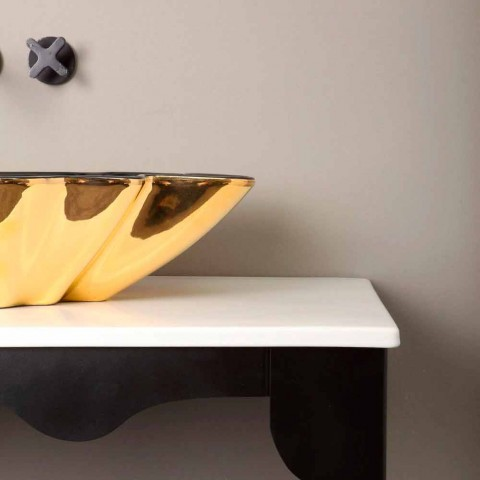Designer washbasin ceramic black and gold made in Italy Rayan