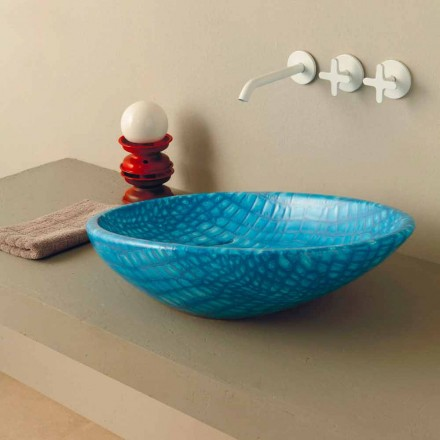 Light blue ceramic countertop sink Glossy, snakeskin pattern