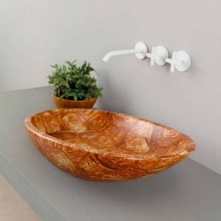 Modern ceramic countertop sink Glossy, turtle pattern, made in Italy