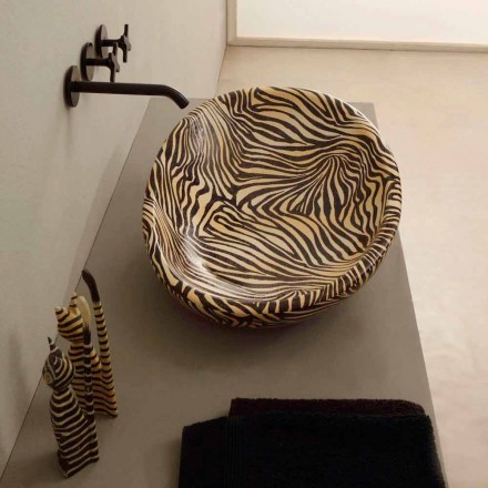 Orange ceramic countertop Glossy with zebra-pattern, made in Italy