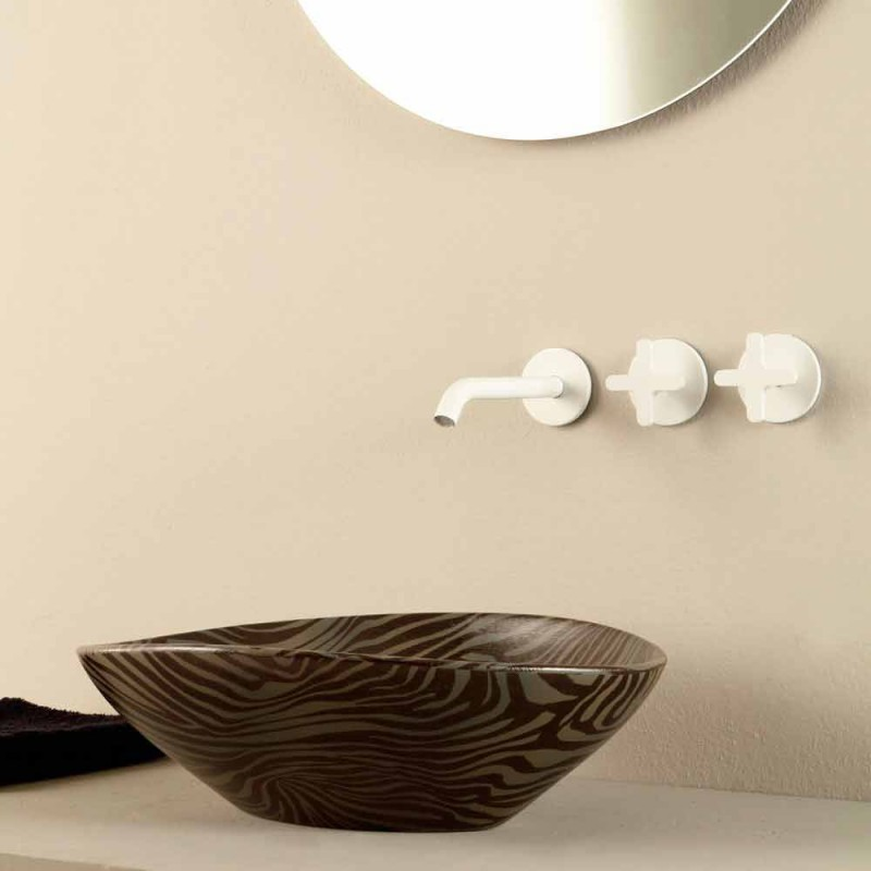 Black ceramic zebra design countertop washbasin made in Italy Animals