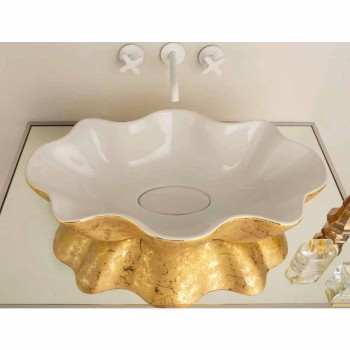 Countertop design washbasin in white and gold ceramic made in Italy Cubo