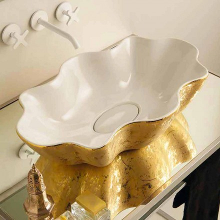 Gold and white modern ceramic countertop basin Cubo, made in Italy