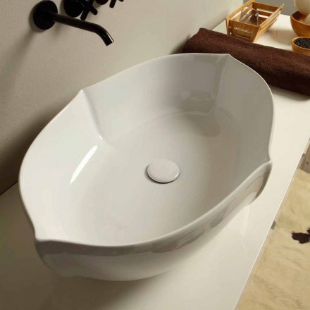 White ceramic countertop basin Oscar, made in Italy modern design