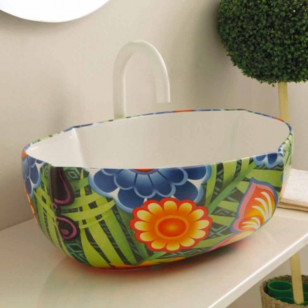 Patterned ceramic countertop basin Oscar, modern design made in Italy