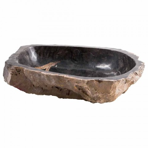 Design countertop washbasin in petrified fossil wood, Lesmo
