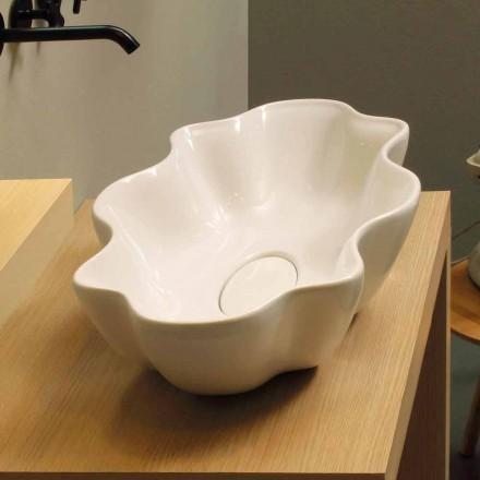 White ceramic countertop basin Cubo, made in Italy modern design