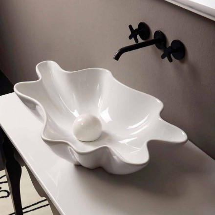 Modern design white ceramic countertop basin Rayan, made in Italy
