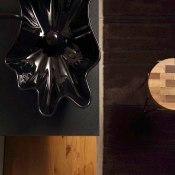 Modern design countertop black ceramic washbasin made in Italy Rayan
