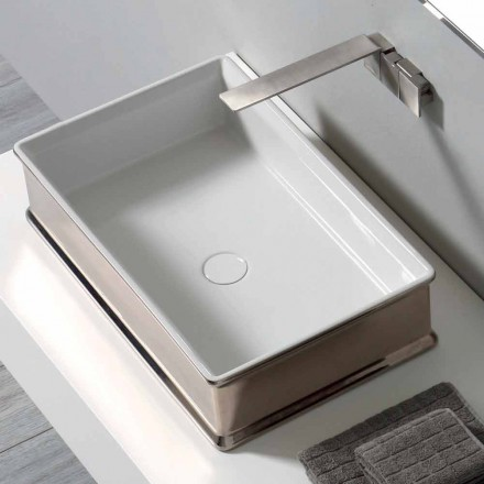 Modern design countertop ceramic washbasin made in Italy Debora