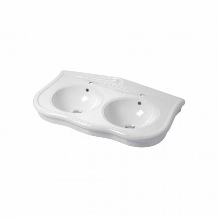 Modern consolle or wall-mounted double sink in ceramic Avise