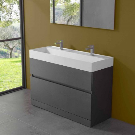 Double Washbasin with Floor Cabinet Modern Design in Laminate - Pompei