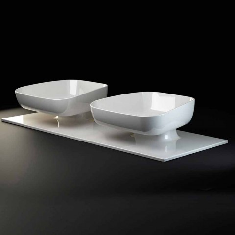Double wall-mounted modern ceramic washbasin made in Italy, Reale