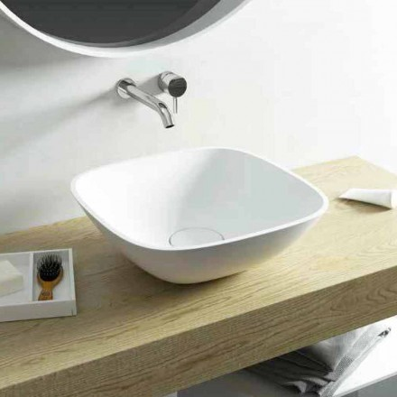 Square countertop washbasin made 100 % in Italy Taormina Mini