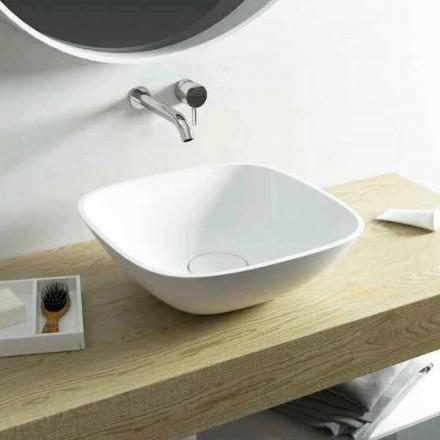 Square countertop washbasin made 100 % in Italy Taormina Mini
