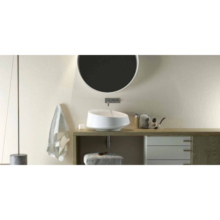 Design Solid Surface countertop washbasin made in Italy, Dongo