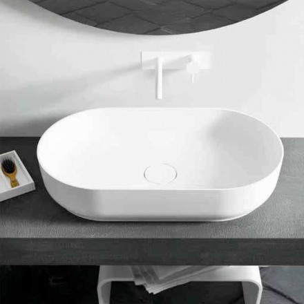 Modern design oval countertop washbasin Dalmine Big, made in Italy