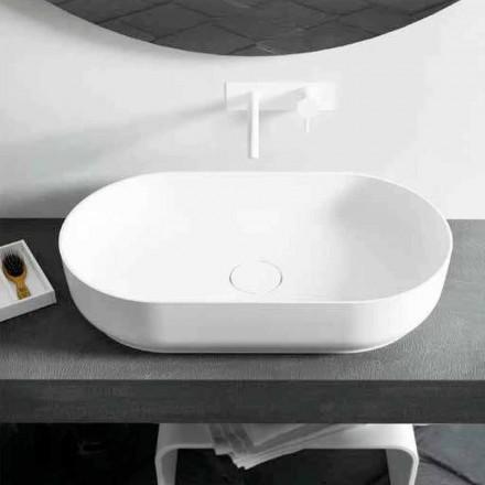 Modern design oval countertop washbasin Dalmine Big, made in Italy