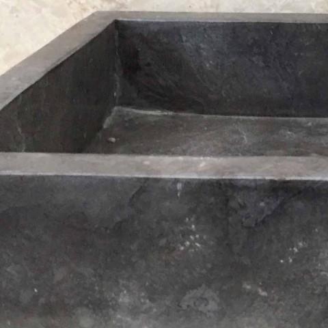 Dark gray washbasin in Thai natural stone, handmade