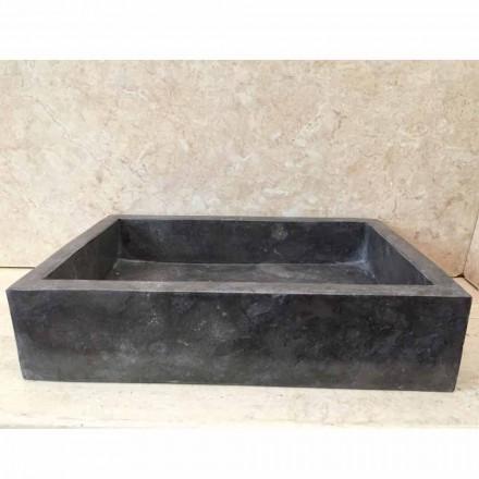 Dark grey natural stone washbasin Thai, handmade, modern design