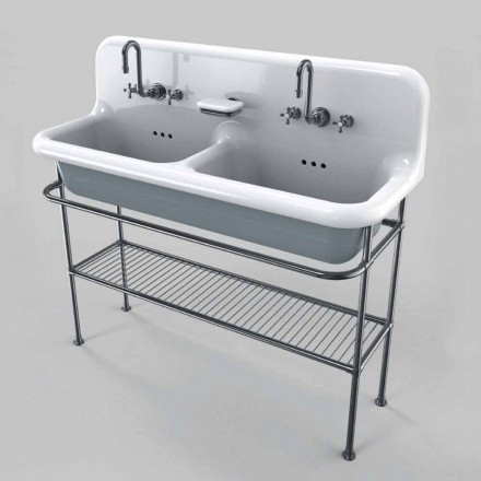 Vintage ceramic washbasin with two basins on structure, Calvin