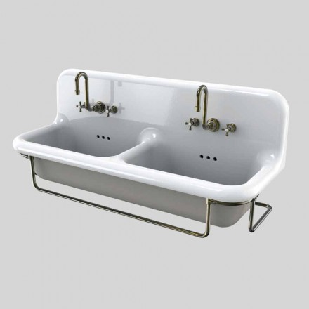 Vintage double basin colored ceramic washbasin with suspended base, Danny