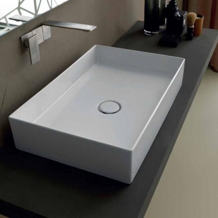 Modern design ceramic countertop washbasin Sun made in Italy 65x35 cm